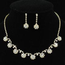 Wedding Dangle Gold Flowers Rhinestone Necklace Earrings Set - $25.99