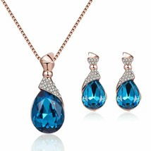 Jewelry Set Water Drop Shape Rhinestone Women Pendant Ear Stud Earrings ... - $9.97