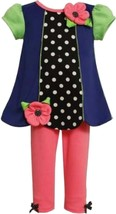 Baby Girls 3M-24M Colorblock Dot Print Scallop Hem Knit Dress/Legging Set