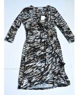 Calvin Klein Dress S 3/4 Sleeves Draped Wrap V-Neck Multi Color Stretch ... - $49.95