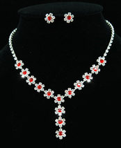 Bridal Wedding Party Dangle Red Flower Crystal Necklace Earrings Set  - $29.99