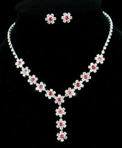 Bridal Wedding Party Dangle Pink Flower Crystal Necklace Earrings Set  - $29.99