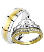 His Hers 3 Piece Yellow Gold IP Crown Stainless... - $29.99