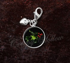 925 Sterling Silver Charm Mistletoe Christmas Winter Holiday - $25.25