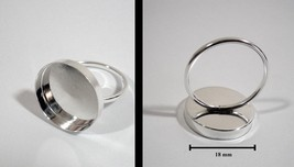 .925 Sterling Silver 1.6mm Ring with 18mm Round Bezel Cup - $13.00