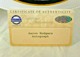 AARON RODGERS / AUTOGRAPHED INSCRIBED GREEN BAY PACKERS WHITE FOOTBALL / STEINER image 5