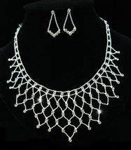 Wedding Stylish Crystal Silver Plated Necklace Earrings Set  - $26.99