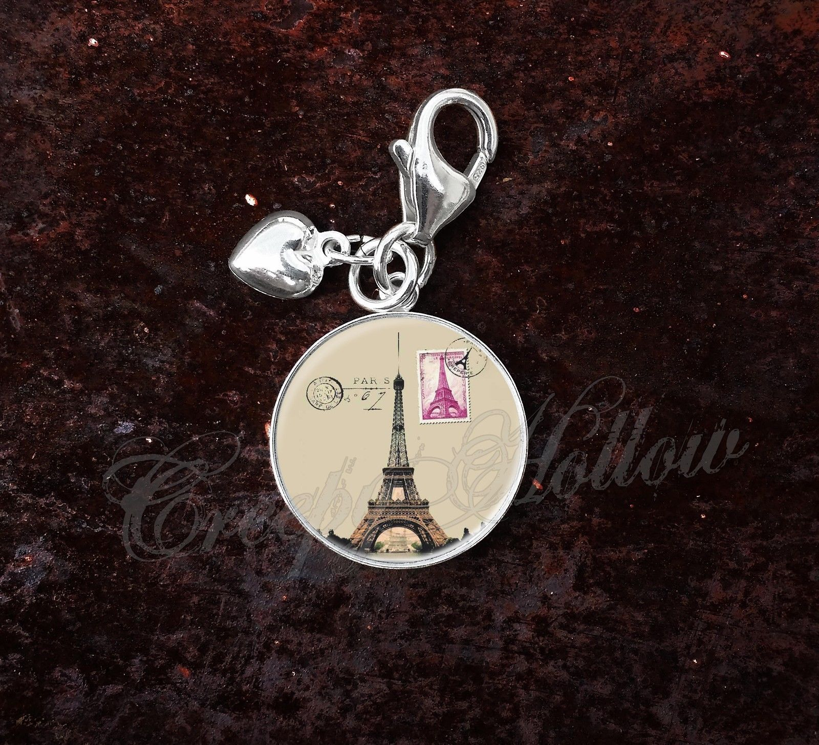 Primary image for 925 Sterling Silver Charm Paris French France Eiffel Tower Stamp