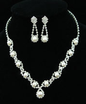 Wedding Bridal Faux Pearl Crystal Necklace Earrings Set  - $29.99