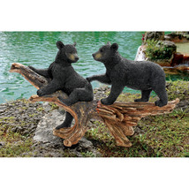 Grand Scale Playtime Cubs Black Bear Wildlife Yard and Garden Sculpture - $296.95