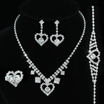 Wedding Stylish Crystal Silver Plated Necklace Earrings Set  - $29.99