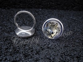 925 Sterling Silver Adjustable Ring Wolf Moon Night Sky animal - $34.65