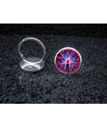 925 Sterling Silver Adjustable Ring Plasma Ball Electricity Tesla Scienc... - $34.65