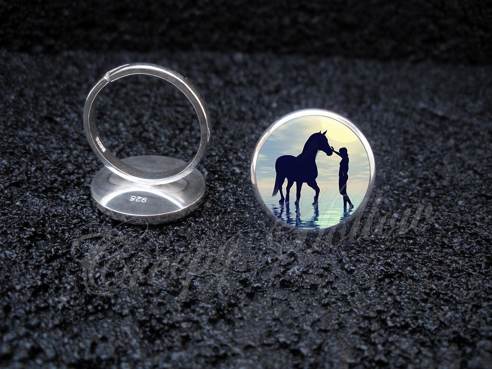 Primary image for 925 Sterling Silver Adjustable Ring Woman With Horse Walking in Water