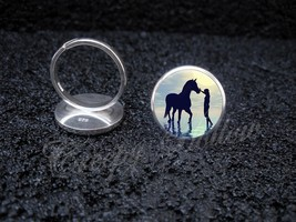 925 Sterling Silver Adjustable Ring Woman With Horse Walking in Water - $34.65