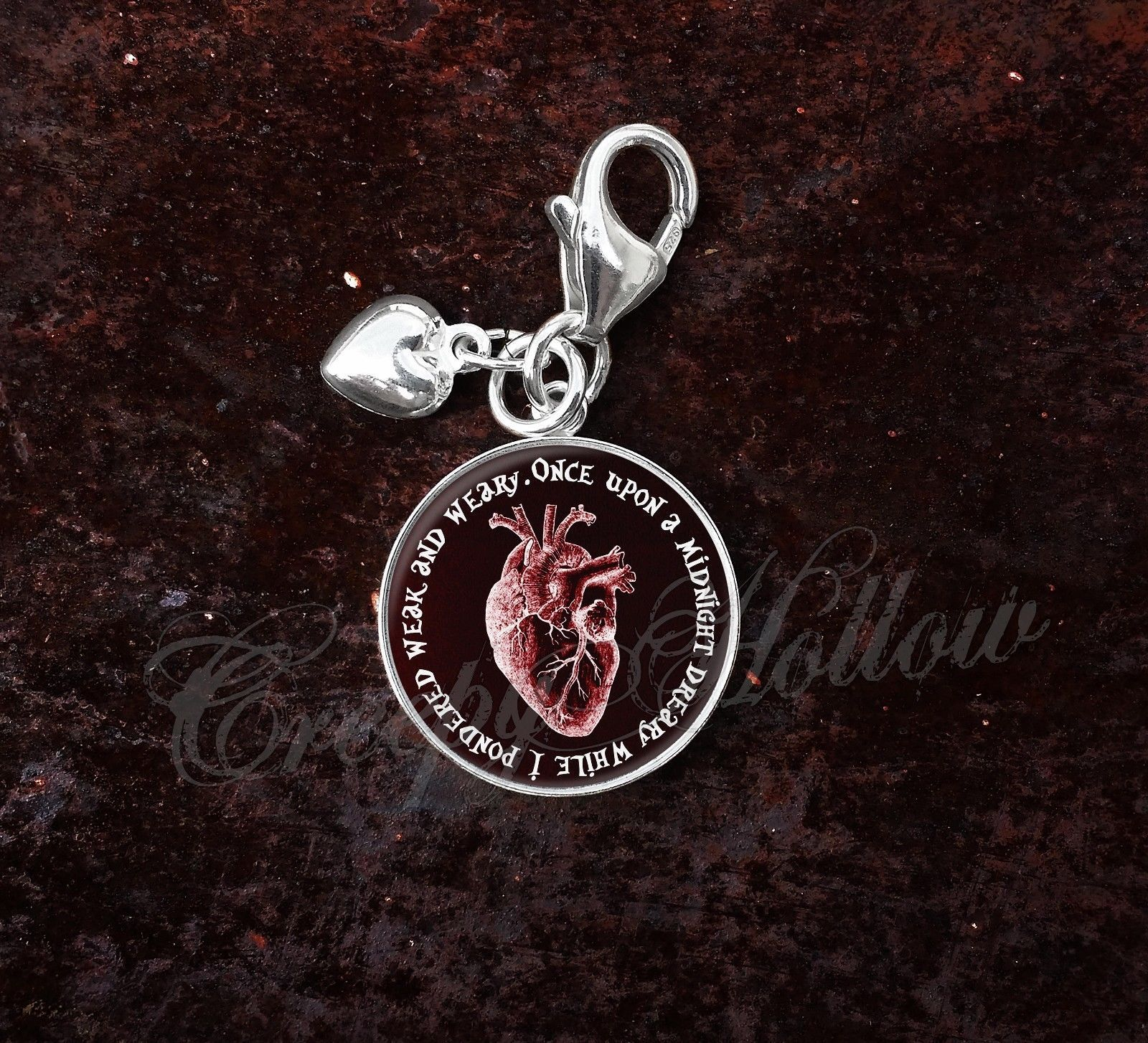 Primary image for Sterling Silver Charm Edgar Allan Poe Quote Anatomical Red Heart