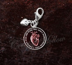 Sterling Silver Charm Edgar Allan Poe Quote Anatomical Red Heart image 1