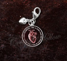 Sterling Silver Charm Edgar Allan Poe Quote Anatomical Red Heart image 5