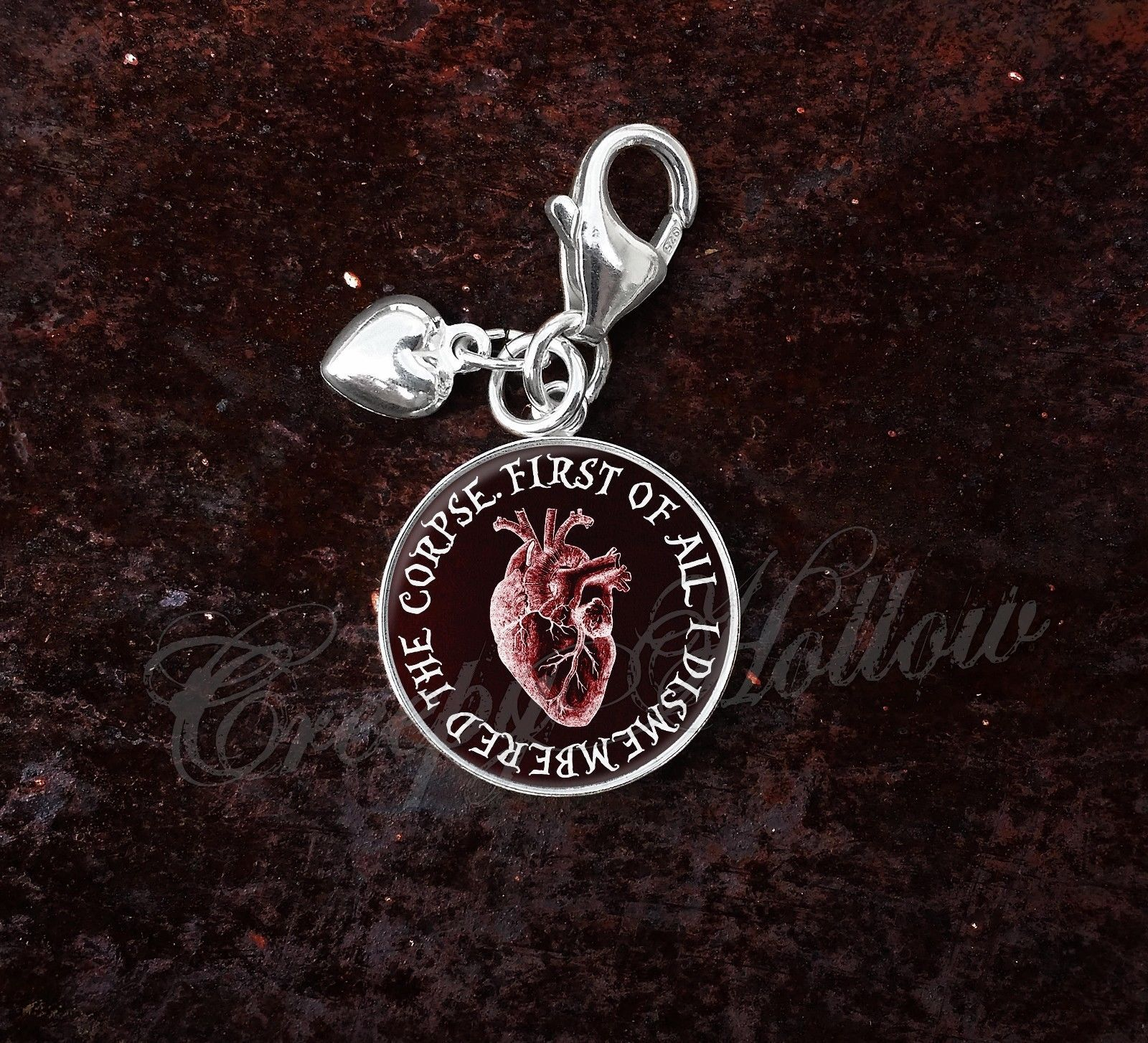 Sterling Silver Charm Edgar Allan Poe Quote Anatomical Red Heart image 6
