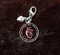 Sterling Silver Charm Edgar Allan Poe Quote Anatomical Red Heart image 7