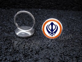 925 Sterling Silver Adjustable Ring Sikh Khanda Symbol - $34.65