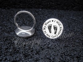 925 Sterling Silver Adjustable Ring Carry You In My Heart Baby Love Misc... - $34.65