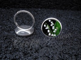 925 Sterling Silver Adjustable Ring Lily Of The Valley Poisonous White F... - $39.00