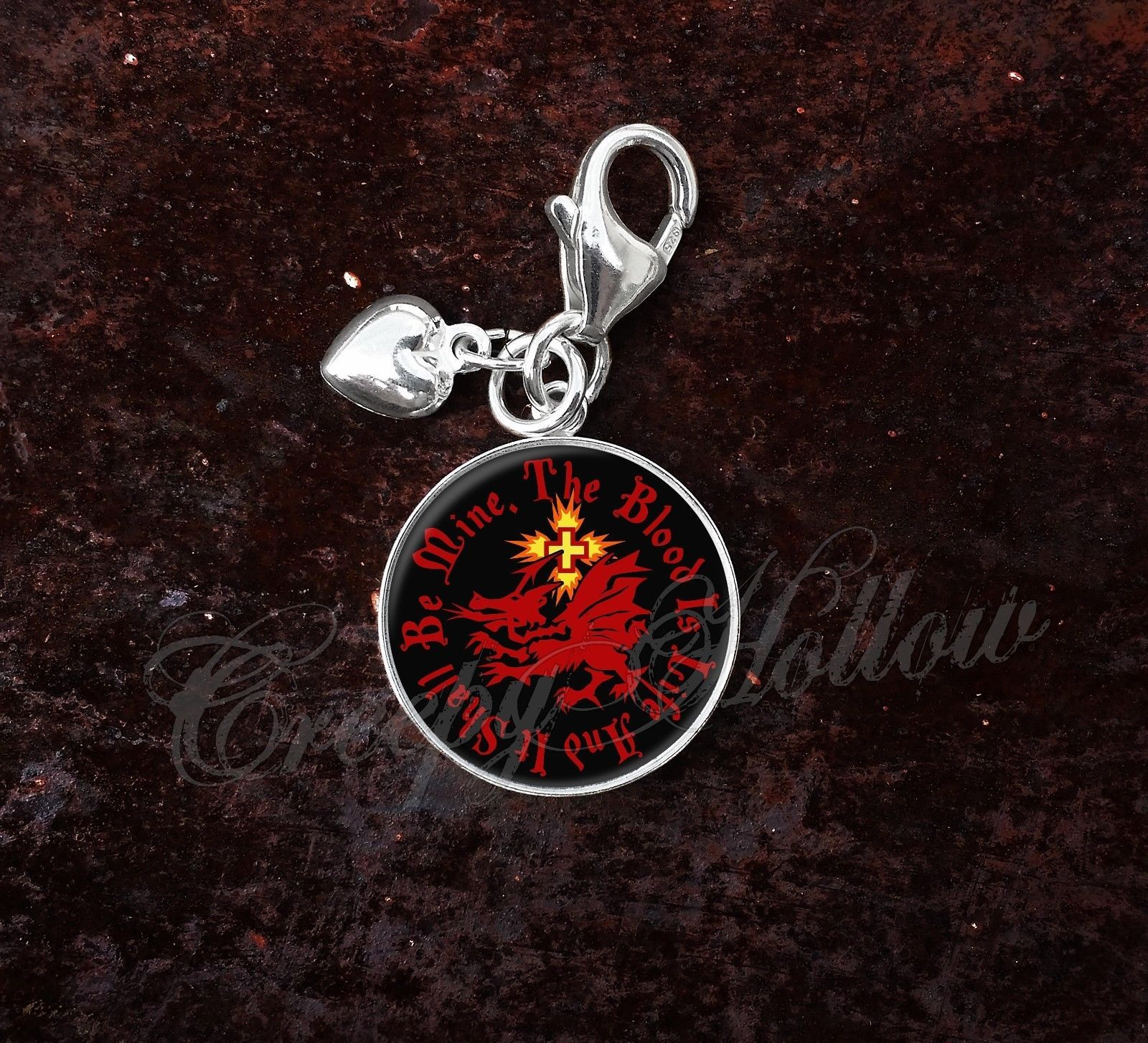Primary image for Sterling Silver Charm Choose Quote Dracula Order of Dragon Vampire