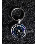 Wiccan Black Cat Familiar Moon Phases Keychain - $14.00+