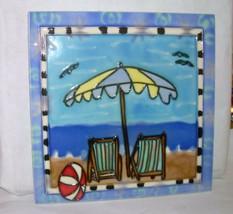 Beach Wall Plaque Tile Table Top Ceramic Ocean Vacation Umbrella Valenti... - $28.99