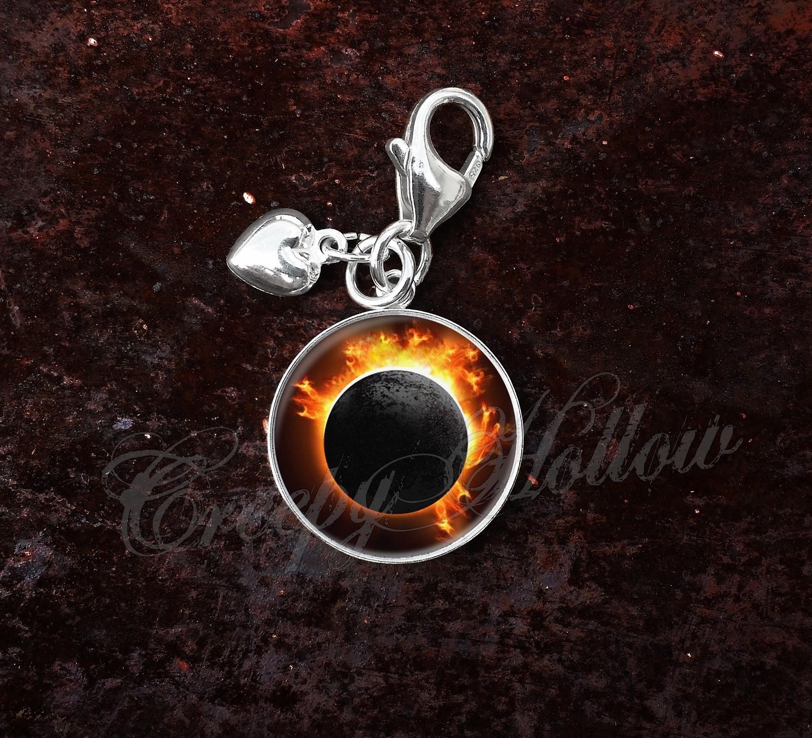 Primary image for 925 Sterling Silver Charm Solar Total Eclipse Sun Moon Astronomy