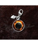 925 Sterling Silver Charm Solar Total Eclipse Sun Moon Astronomy - $25.25
