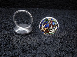 925 Sterling Silver Adjustable Ring Medieval Stained Glass Church Art Angel - $34.65
