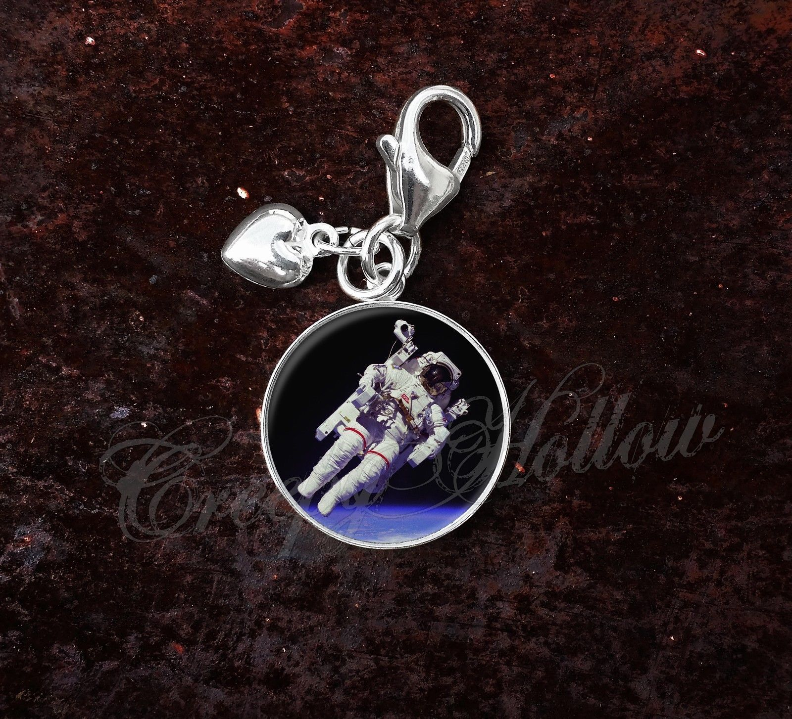 Primary image for 925 Sterling Silver Charm Astronaut Floating in Space Science Astronomy