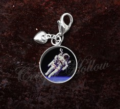 925 Sterling Silver Charm Astronaut Floating in Space Science Astronomy image 1
