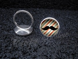925 Sterling Silver Adjustable Ring Old Timey Moustache Sir Barbershop B... - $34.65