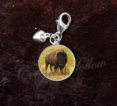 925 Sterling Silver Charm American Bison Buffalo Animal Image - $25.25