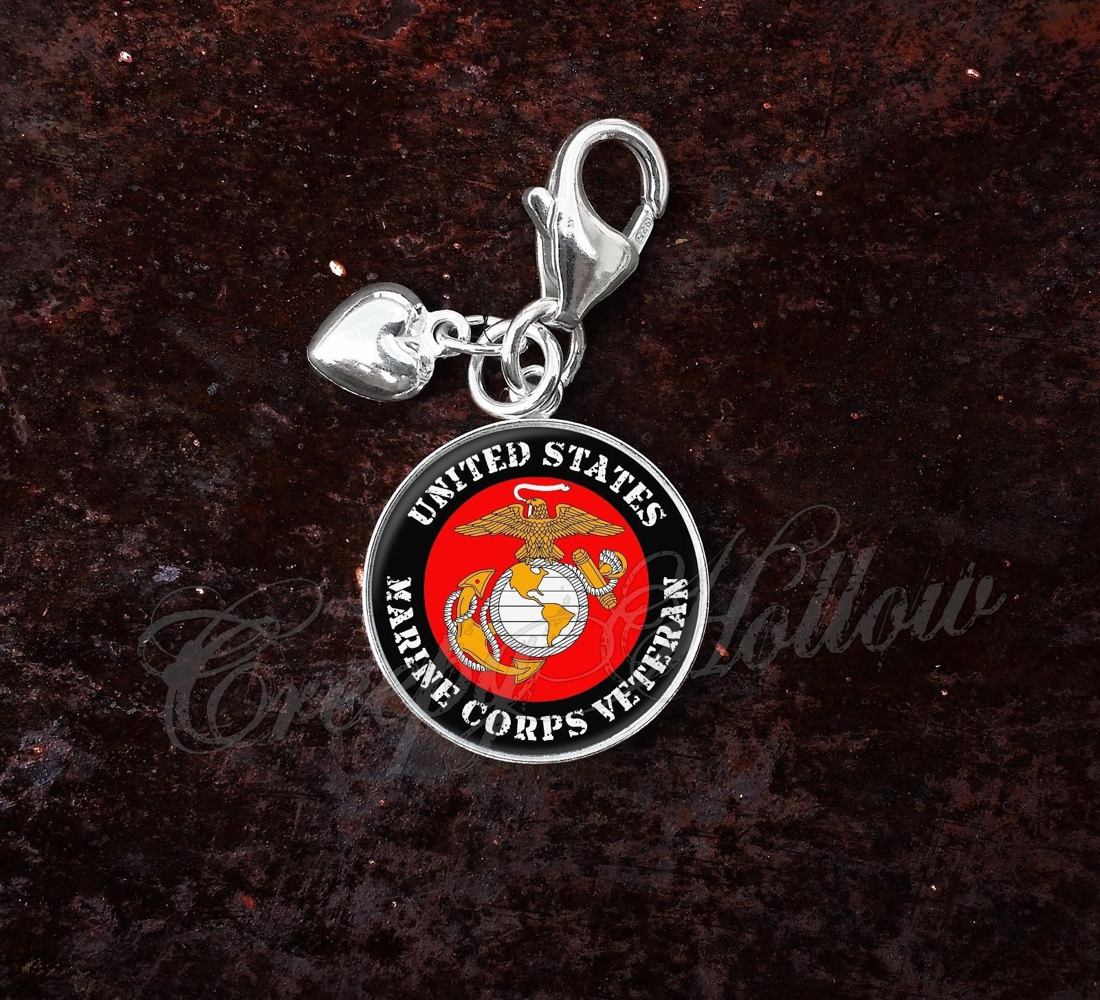 925 Sterling Silver Charm United States Marine Corps Veteran