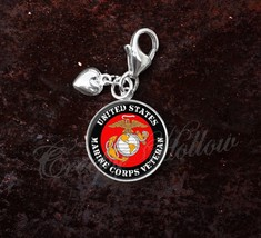 925 Sterling Silver Charm United States Marine Corps Veteran - $25.25