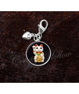 925 Sterling Silver Charm Maneki Neko Cat Kitty Beckoning Cat Luck - $25.25
