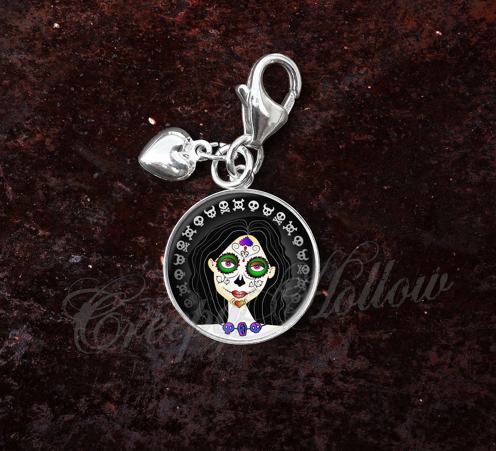 Sterling Silver Charm Sugar Skull Girl Dia De Los Muertos