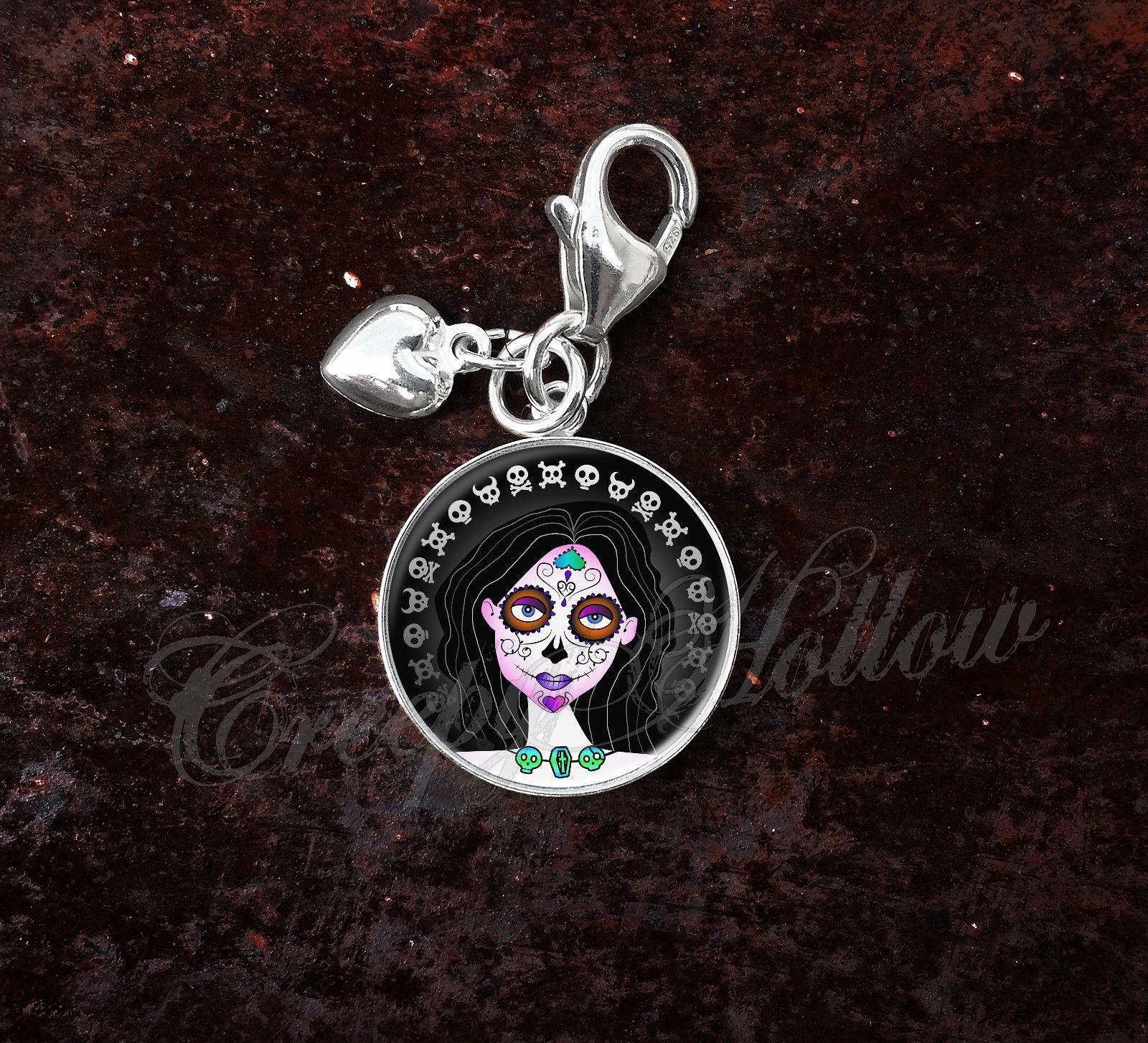 Sterling Silver Charm Sugar Skull Girl Dia De Los Muertos image 7