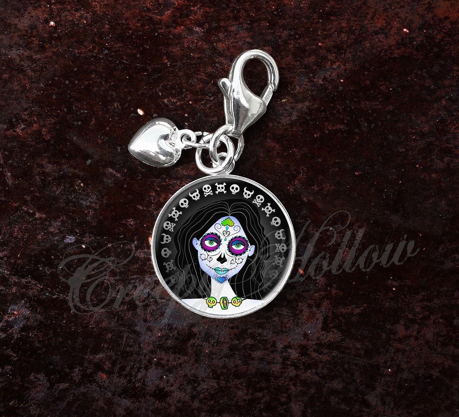Sterling Silver Charm Sugar Skull Girl Dia De Los Muertos image 6