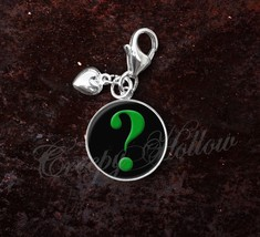 925 Sterling Silver Charm Green Question Mark Interrogative - $25.25
