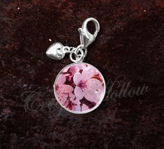 925 Sterling Silver Charm Cherry Blossom Flowers - $25.25