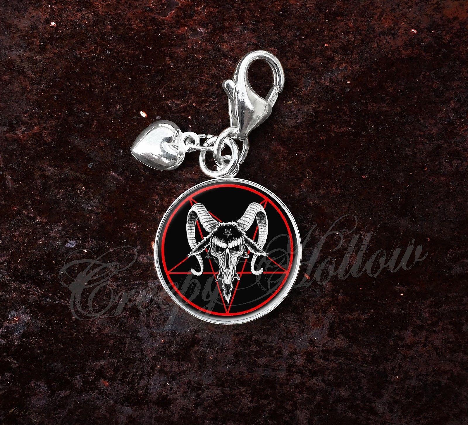 925 Sterling Silver Charm Baphomet Pentagram Devil Satanism