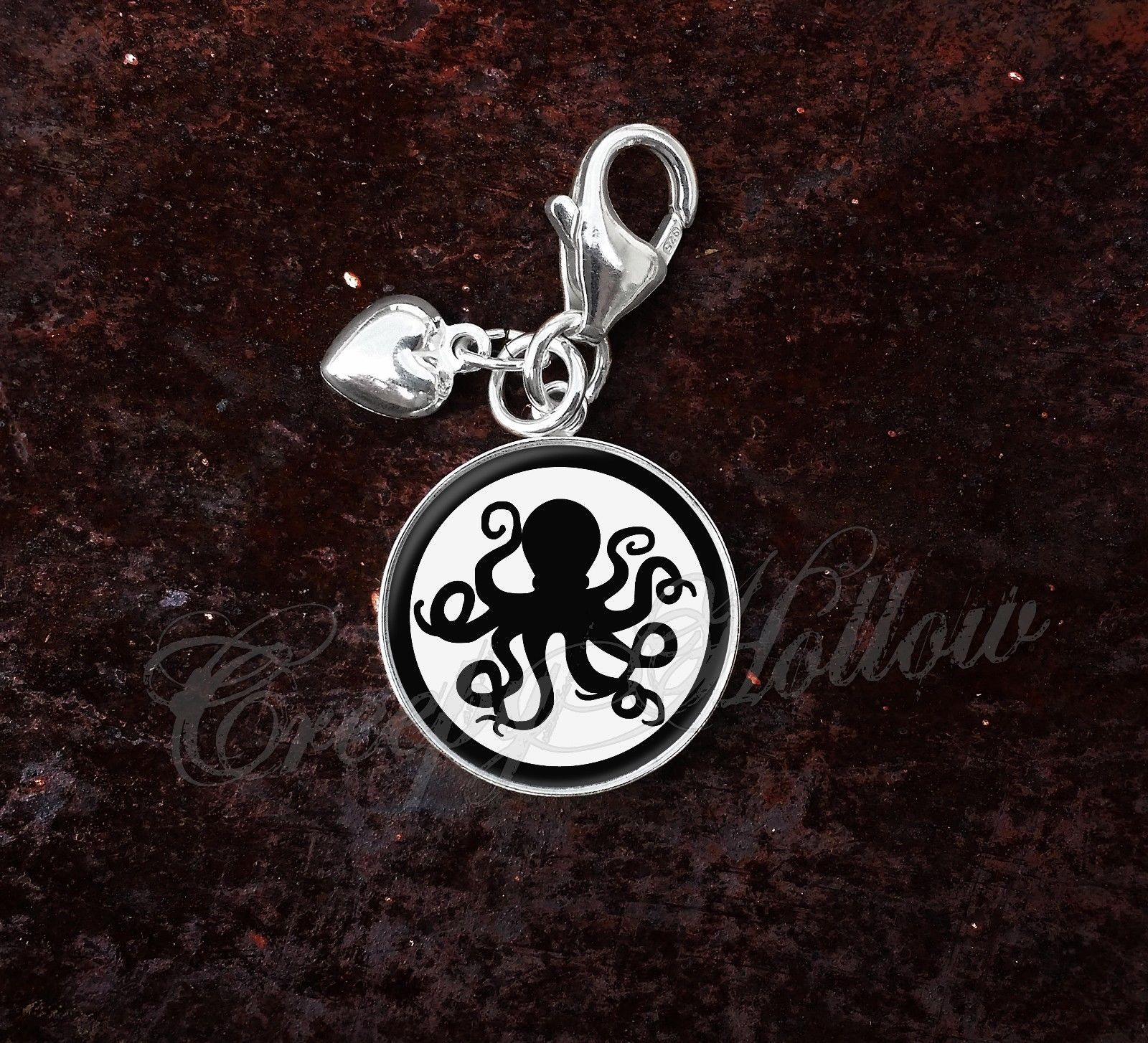 925 Sterling Silver Charm Octopus Silhouette Spy Secret Agent