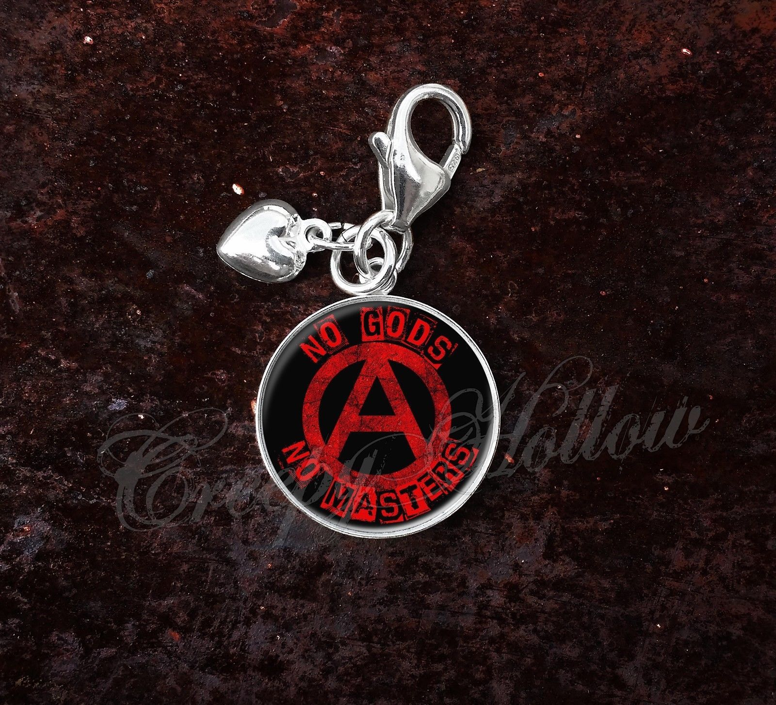925 Sterling Silver Charm No Gods No Masters Anarchist Anarchy