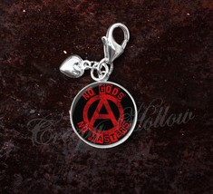 925 Sterling Silver Charm No Gods No Masters Anarchist Anarchy - $25.25
