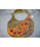 MAGGI B Boho Chic Tie Handbag Embroidered Floral  Purse Lime Gold 9 x14 NWT - $48.47